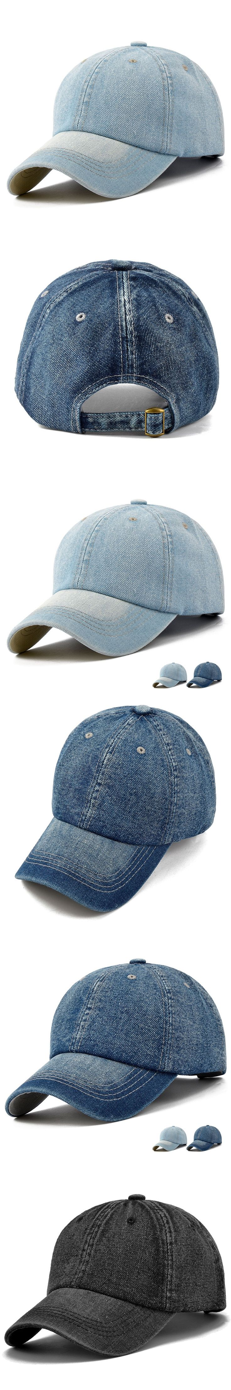 Solid Denim Baseball Caps Lovers Headwear Adult Outdoors Curved Sun Cap Men Women Plain Peaked Hat