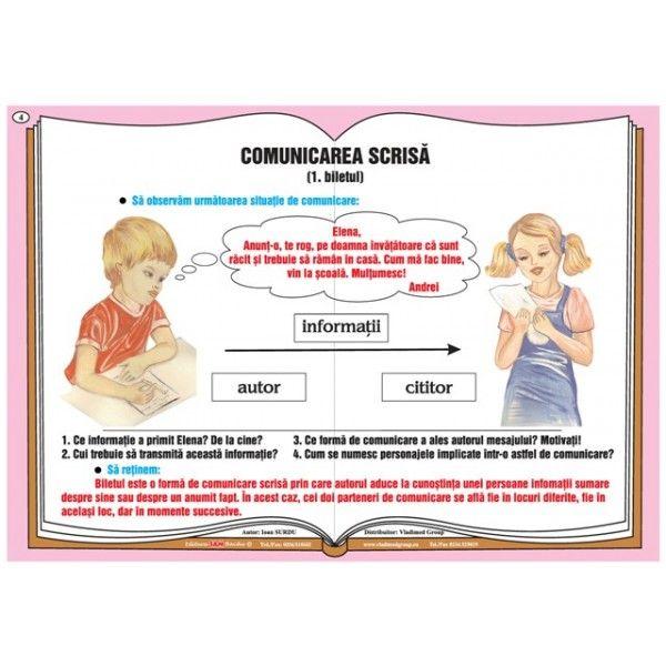 Plansa Comunicarea verbala - comunicarea scrisa - biletul