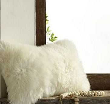 Sample sale luxury shaggy faux fur white pillow by for White faux fur pillow