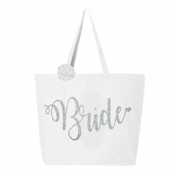 Bridal Tote Bag Silver Glitter Wedding Tote Bag Bride Tote Bag Jumbo Bride Carry All White Sil Bride Tote Bride Tote Bag Bride Bag