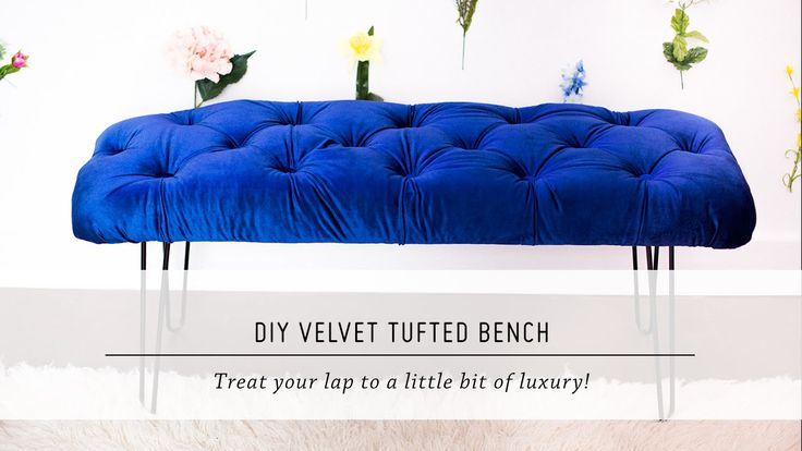 DIY Velvet Tufted Bench | Home Decor Tutorial | Mr. Kate - NOTE: Fabric is velvet here, but you could probably use ANY fabric to make the bench that YOU want.
