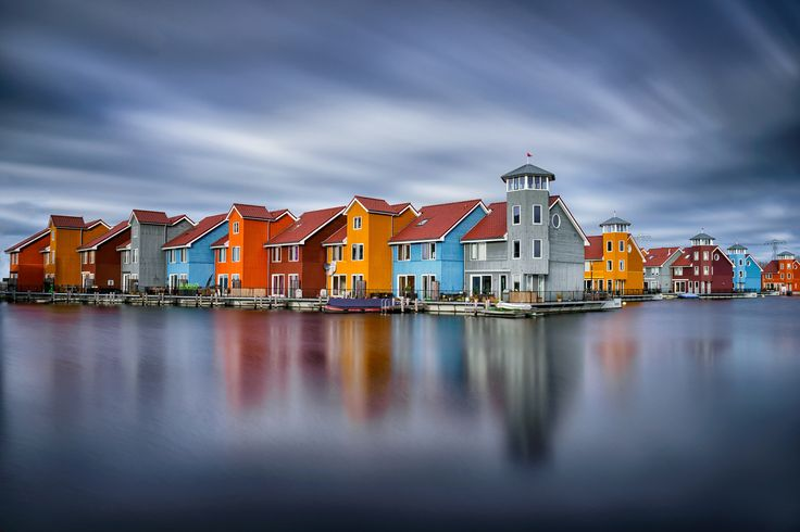 Reitdiephaven - Went back to Groningen for these remarkable houses in the water. Used a 10 stops Big Stopper to get the silky water and moving clouds.