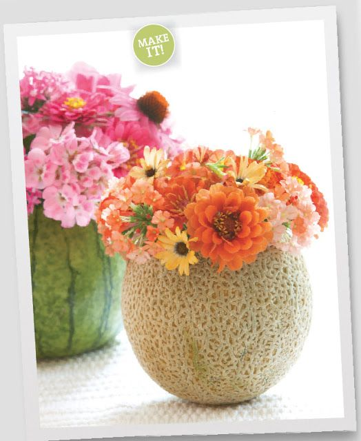 Good Housekeeping, floral arrangements are more interesting when placed in seasonal melons as vases