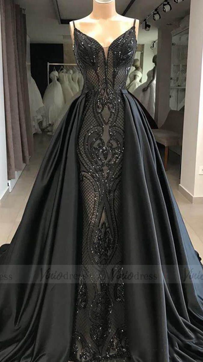 Cheap Black Long Prom Dresses With Detachable Train Promdresseslong Prom Eve Cheap Black Long Prom Dre Prom Dresses Long Gowns Sequin Prom Dresses [ 1200 x 675 Pixel ]