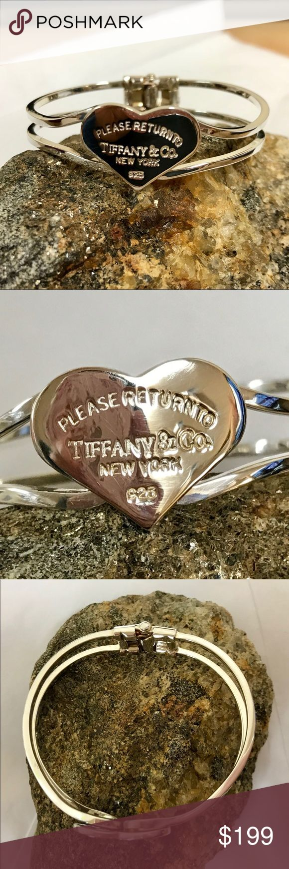 "Please Return to Tiffany & Co. heart bracelet .925 Please Return to Tiffany & Co. heart bracelet .925 spring-hinge closure weight 22.6g 2-2.5"" diameter, apps 8"" circumference Tiffany & Co. Jewelry Bracelets"