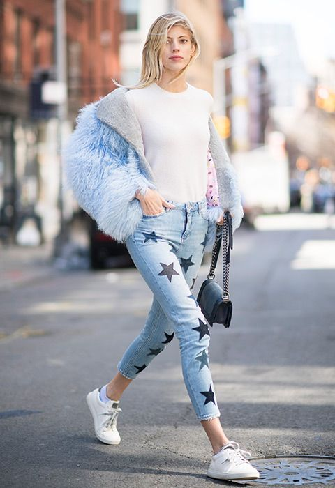 The classic white T-shirt and blue-wash skinny jeans combination has been coming out strong every spring since, well, forever. Devon Windsor's super-duper upgrade comes via a twinkling of indigo stars (customised denim is a major SS17 movement) and a frothy faux-fur jacket in powder blue.