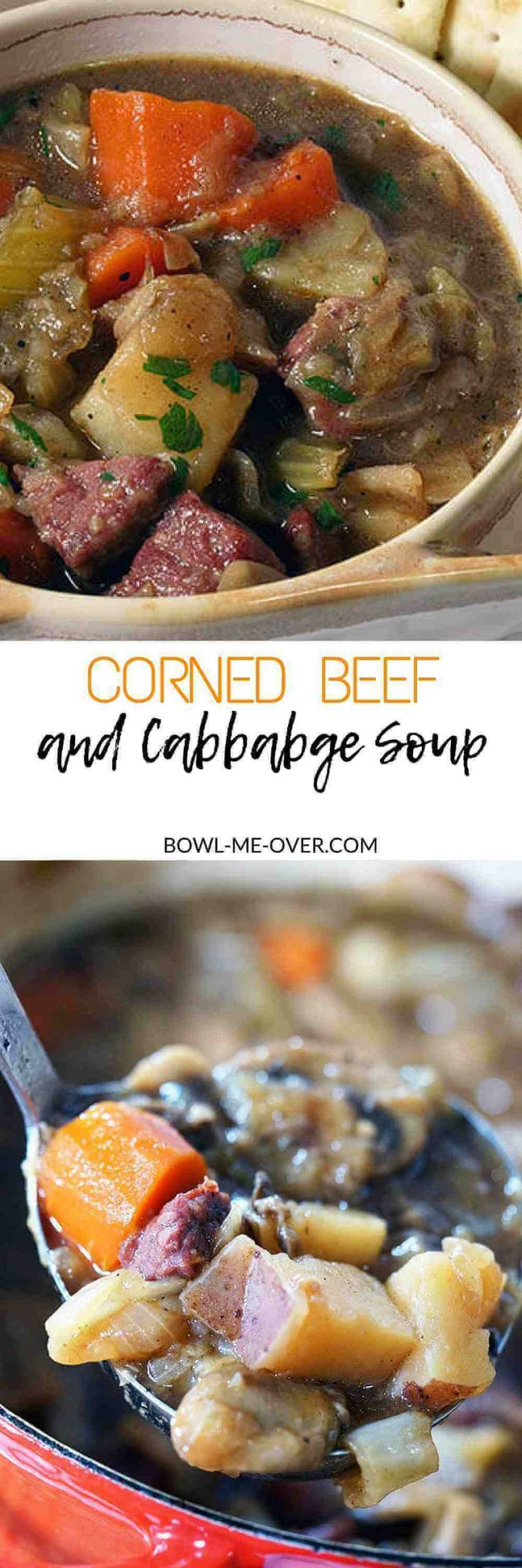Corned Beef and Cabbage Soup is a savory, hearty meal. Full of delicious winter vegetables and tender corned beef this is the MOST delicious stew to enjoy! #cornedbeef #cabbagesoup #bowlmeover #StPatricksDay via @bowlmeover