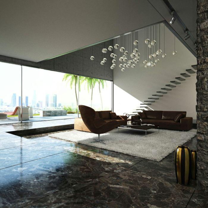 Deckenbeleuchtung Wohnzimmer Ledermbel Pendelleuchten