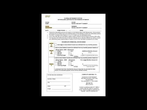 Florida Retirement System (FRS) pension tax withholding form (Form W-4P)...