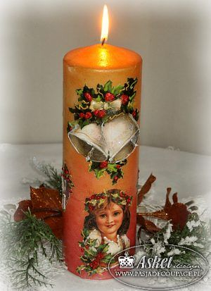 decoupage christmas candle