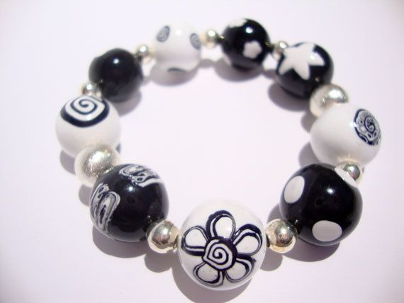 "Beaded  bracelet polymer clay ""Monochrome"", MADE TO ORDER"