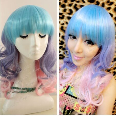 35cm Medium Multi-color Gradient Wave Cosplay Hair Wig  ,shop at www.favorwe.com,cosplay wigs,fashion wigs,hair,beauty www.favorwe.com