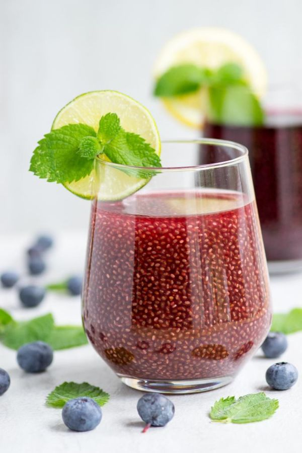 10 Healthy Juice Recipes for Your Pre-Wedding Routine | It may sound strange, but drinking chia seeds has its major health benefits. You can mix the seeds in with a juice of your choice - this particular recipe recommends cranberry, blueberry or blackberry.