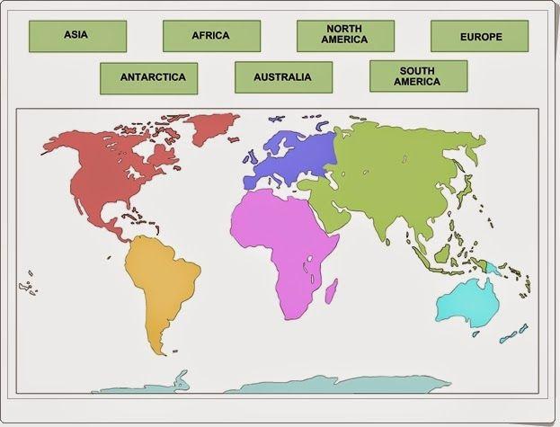 """""""Los continentes"""" es un sencillísimo juego en el que sólo hay que situar los nombres de los contienentes en su situación correcta en este bonito planisferio. Para los más pequeños y en inglés."""
