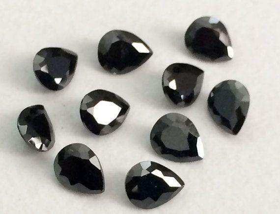 50 Pcs 2x3mm Black Cubic Zirconia Loose Pear by gemsforjewels