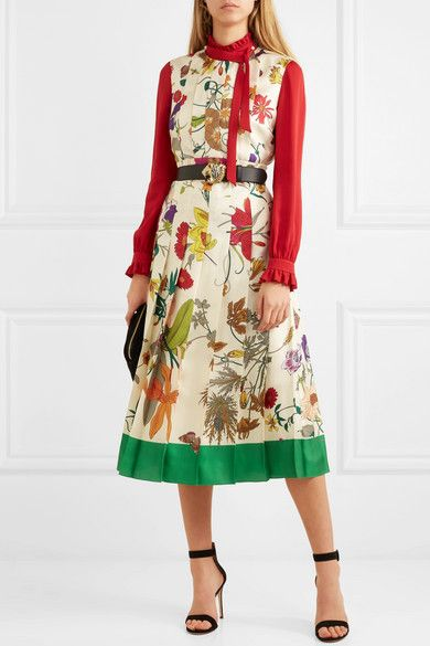 10587bfb0a1143 Gucci pleated floral-print silk midi dress and embellished ruffled silk crepe  de chine blouse