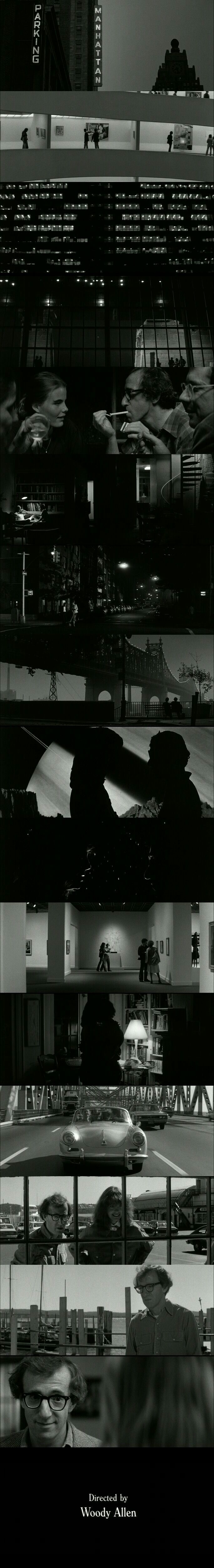 Black-white cinematography from Manhattan (1979) Directed by Woody Allen. Cinematography by Gordon Willis. Starring Woody Allen in leading role with Mariel Hemingway, Diane Keaton and Meryl Steep in supporting roles.