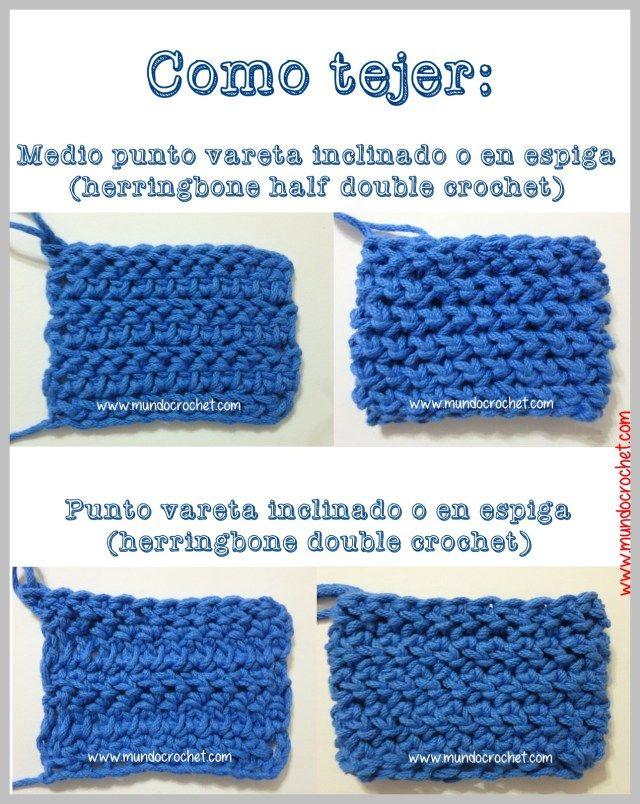 Como tejer el Medio punto vareta y el punto vareta inclinados o en espiga a crochet o ganchillo-herringbone half double crochet