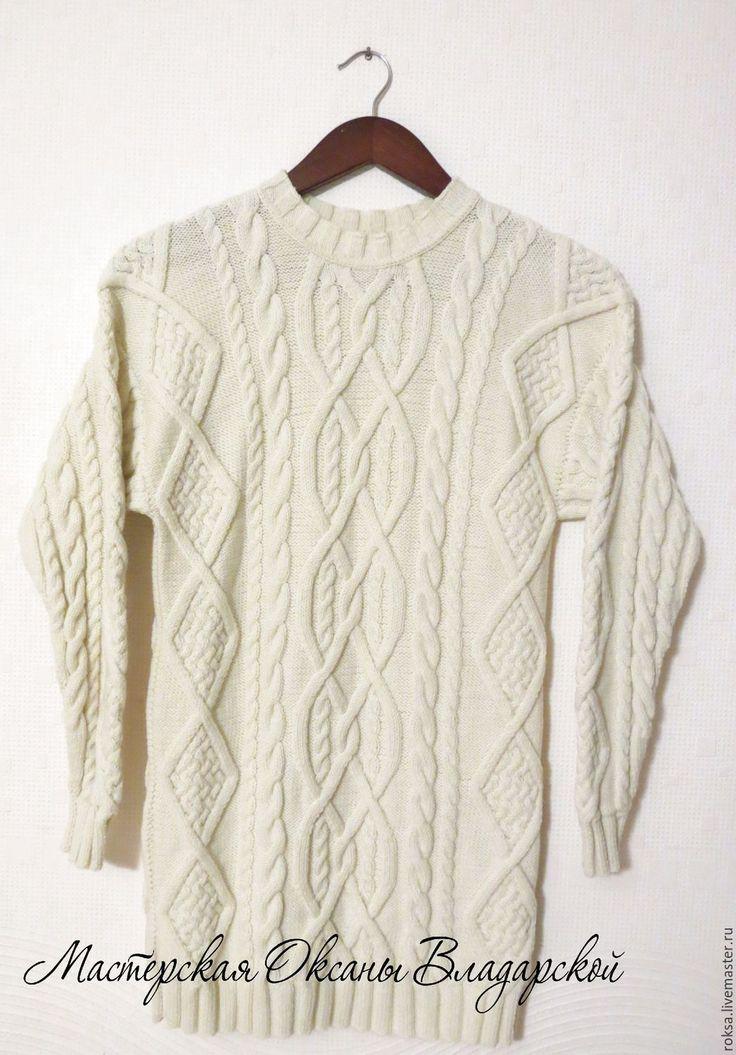"""Купить Вязаный свитер - платье """"Айвори"""" - белый свитер, свитер на заказ, купить вязаный свитер"""