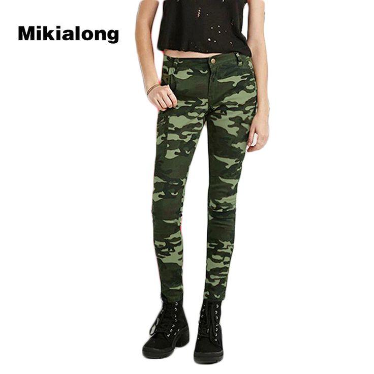 Mikialong 5xl Plus Size Women Camouflage Jeans 2017 High Waist Ladies Jeans Pants Vintage Army Green Skinny Pencil Jeans Femme #Affiliate