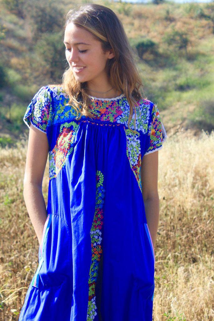 Elegant Vintage Oaxacan Hand Embroidered Dress