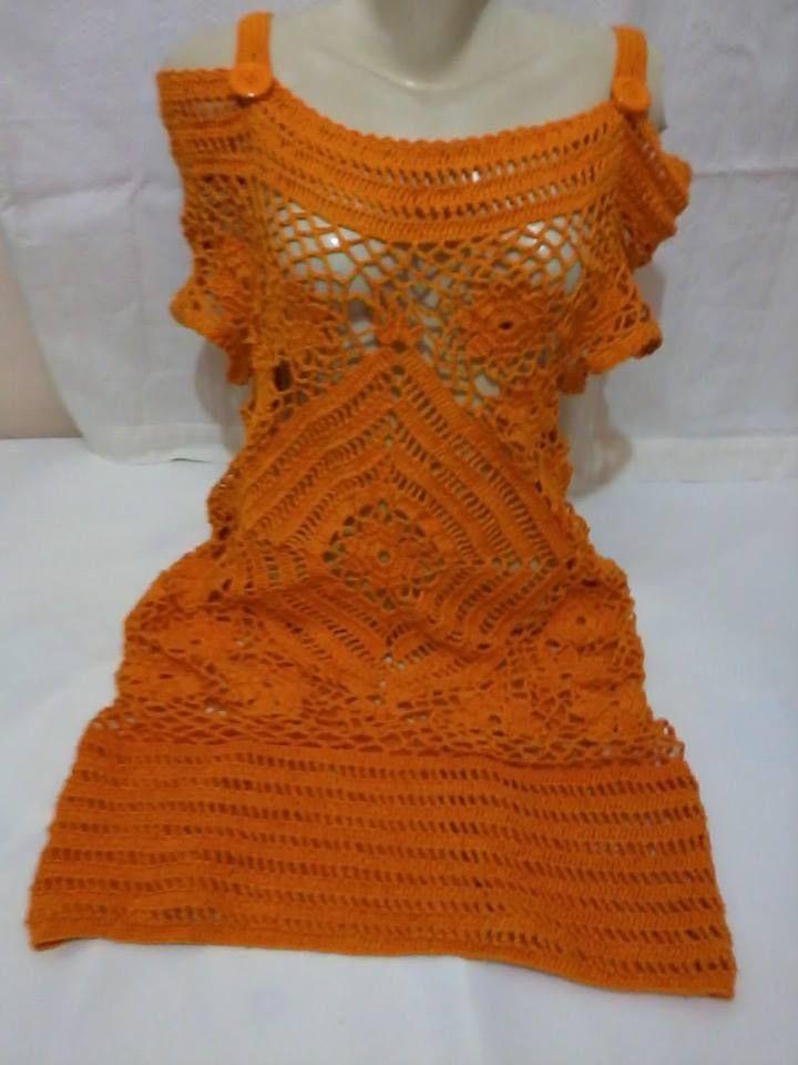 vestido Simone em crochẽ.