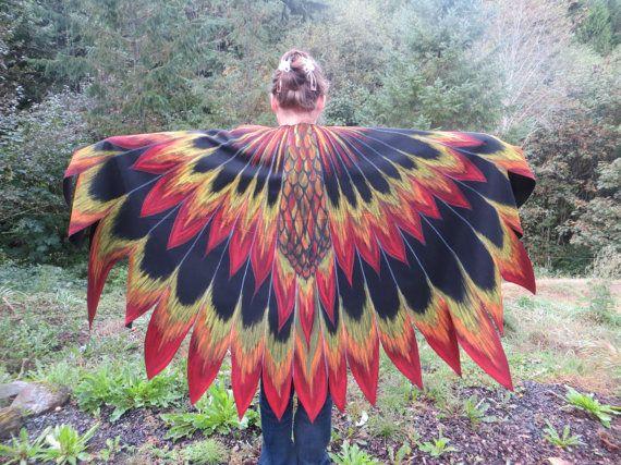 Phoenix Firebird Dragon vogel vleugels mantel aangepaste handgeschilderde Cosplay kostuum