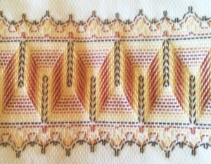 """Huck Towel Embroidered Design """"Waves and lace"""" There is a chart"""