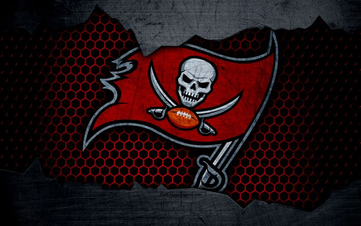 Download wallpapers Tampa Bay Buccaneers, 4k, logo, NFL, american football, NFC, USA, grunge, metal texture, South Division