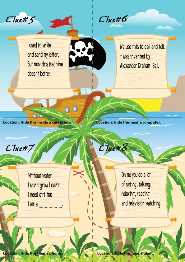 Scavenger Hunt For Kids In 2019 Treasure Clues Pirate
