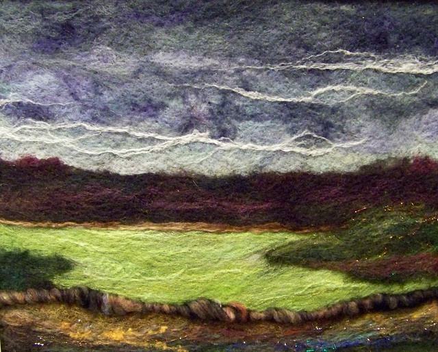 'Storm field', needle felting by Deebs Fibre Arts