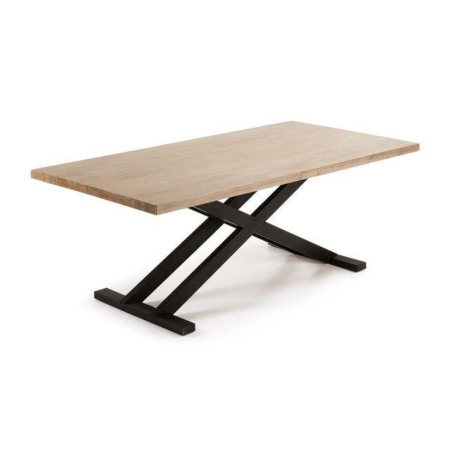 Table Tivades Pattes Croisees 90x160 Cm Kavehome Prix Avis Notation Livraison Table En Bo Table Salle A Manger Table A Manger Table Style Scandinave