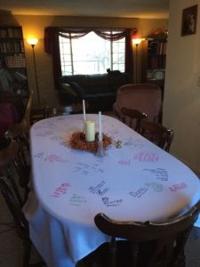 The Thanksgiving Tablecloth tradition. This is the sweetest tradition, and it's a DIY for those of us who are not crafty! Every year bring out the tablecloth and have each person write down something they are thankful for.