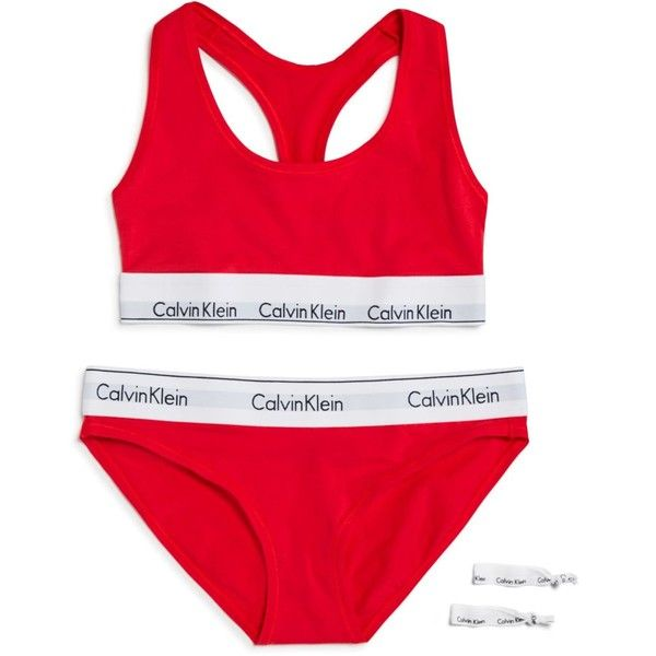 Calvin Klein Modern Cotton Gift Set: 1 Bralette + 1 Bikini + 2 Hair... ($50) ❤ liked on Polyvore featuring intimates, bras, evocative red, calvin klein bra, cotton bras, bralette bras, red bra and calvin klein