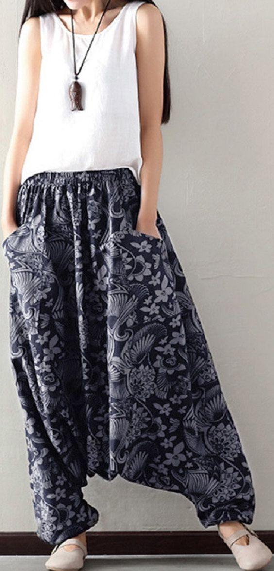 US$16.43 O-NEWE Loose Printed Elastic Waist Pockets Harem Pants For Women
