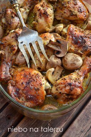 niebo na talerzu: Kurczak pieczony w musztardzie. Kurczak pieczony z pieczarkami