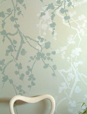1000 images about bathroom mural ideas on pinterest for Cherry blossom wall mural stencil