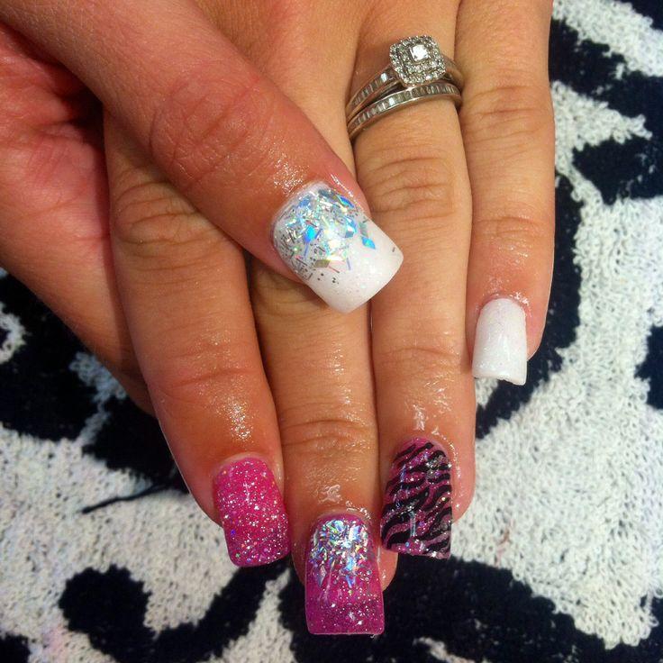 Sparkles zebra acrylic nails! Follow me on ig at @Adris_Nails :)
