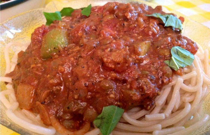 """<p>It's a classic meat sauce made vegan! I used lentils to make the """"meat"""" of the sauce. You could also use mushrooms, or neat meat replacement -Italian mix. I added onions, peppers and all my favorite Italian spices.</p>"""