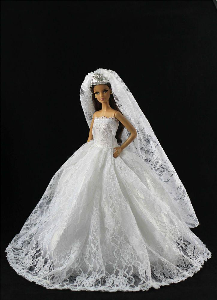 Weiß Fashionistas Kleidung Prinzessinnen Kleider+Krone Schleier Für Barbie Puppe