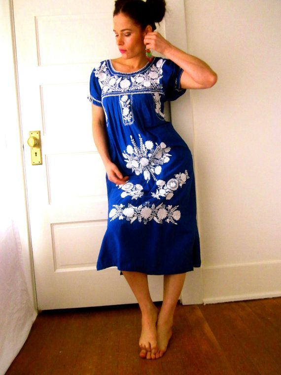 Mexican Embroidered Smock Peasant Dress Royal Blue And