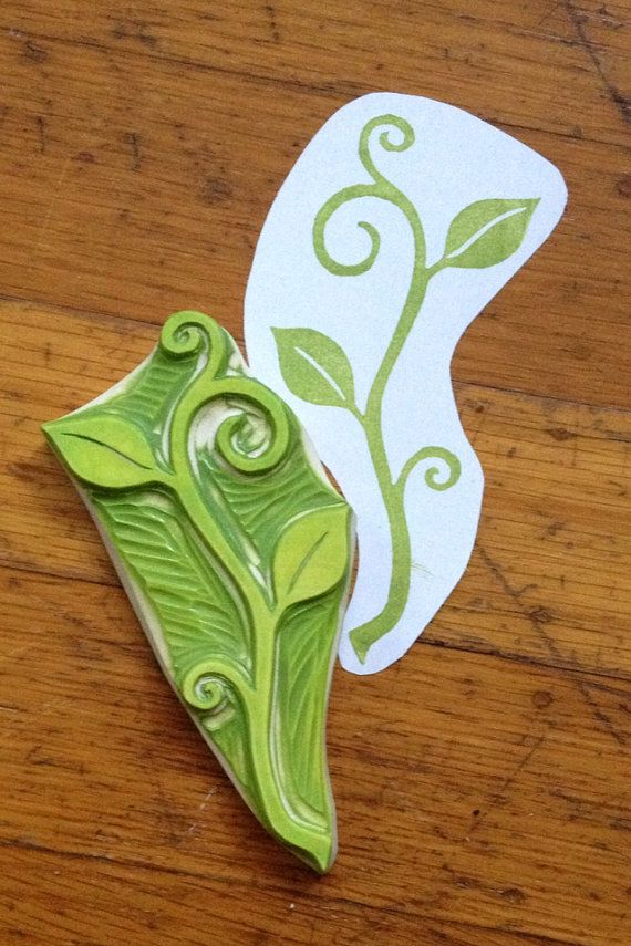 Hand Carved Swirly Sprout Stamp                                                                                                                                                                                 Mais