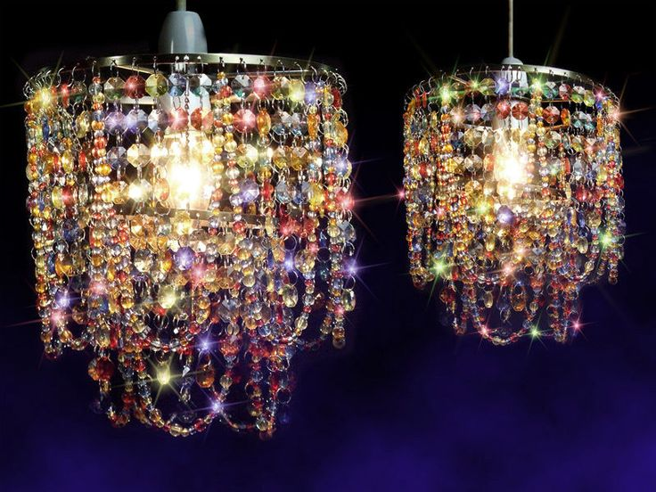 Multicoloured Crystal Effect Gypsy Pendant Light Shade Lamp Bedroom Chandelier in Chandeliers & Ceiling Fixtures | eBay