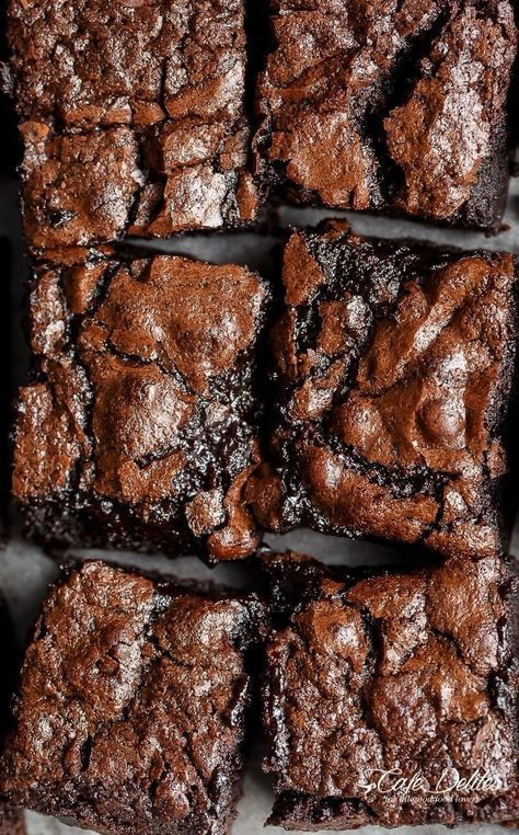 The Best, Fudgy ONE BOWL Cocoa Brownies! A special addition gives these brownies a super fudgy centre without losing that crispy, crackly top! | cafedelites.com
