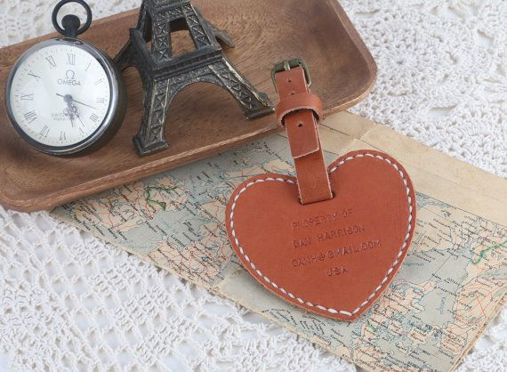 Christmas gift idea: Heart Shape Double Sided Luggage Tag Personalized  by HarLex