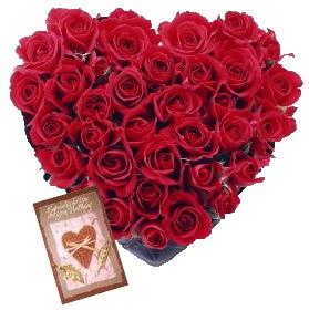 36 Red roses heart shape arrangement + 1 greeting card