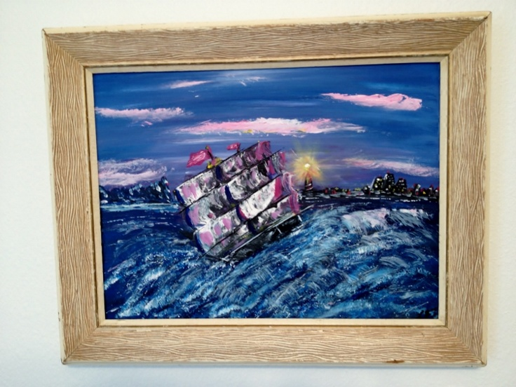 """Heading for Safe Harbour  Acrylic on Canvas 12"""" x16""""  Board  Framed"""
