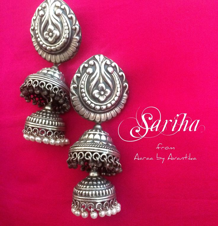 Sariha, unique layered jhumkas in Sterling silver from Aaraa by Avantika.
