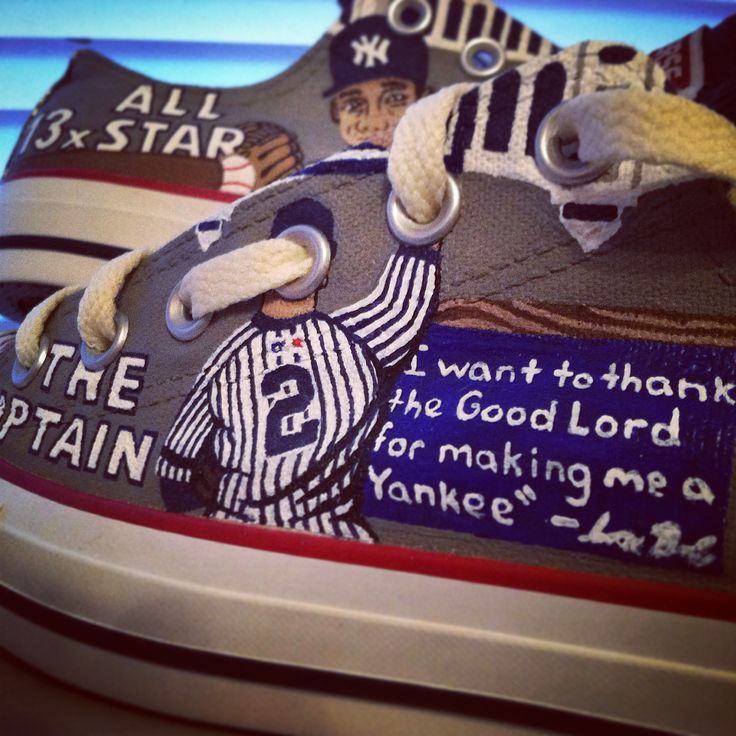 NY Yankees + hand painted custom Converse All Star shoes