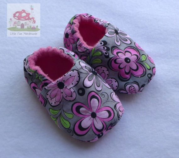 GreyFlower Baby Shoes 12-18months by LittleFaeHandmade on Etsy
